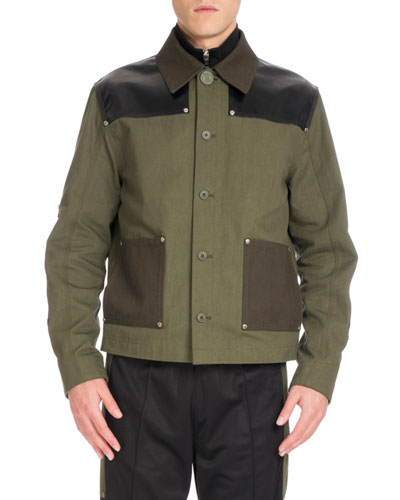 Workwear Twill Utility Jacket, Dark Green