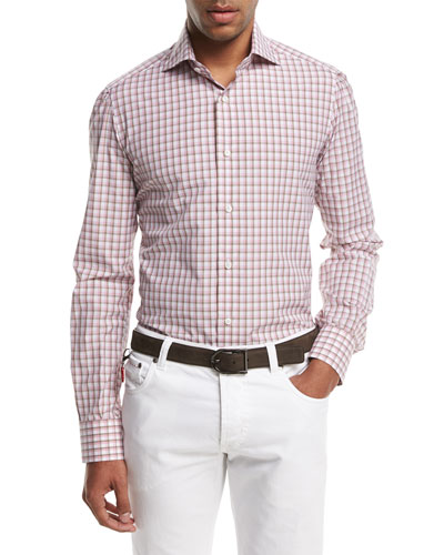 Box-Check Sport Shirt, Pink/Brown