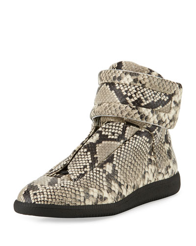 Men's Future Python-Embossed Leather High-Top Sneakers, Natural