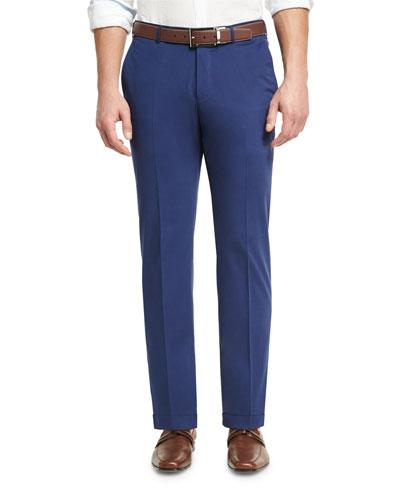 Cashmere-Cotton Flat-Front Trousers, Blue
