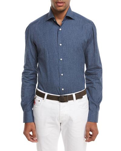 Navetta Denim-Effect Sport Shirt, Blue