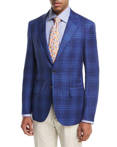 Sanita Plaid Super 140s Wool Two-Button Sport Coat, Blue