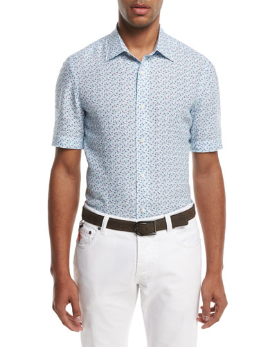 Micro-Leaves Short-Sleeve Sport Shirt, Blue/Green