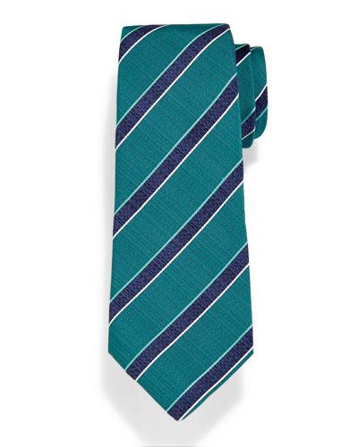 Diagonal Woven-Stripe Herringbone Tie