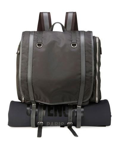Nylon Camper Rucksack Bag/Backpack with Logo, Black