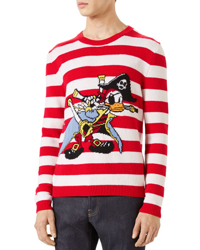 Striped Donald Duck Crewneck Sweater, Red