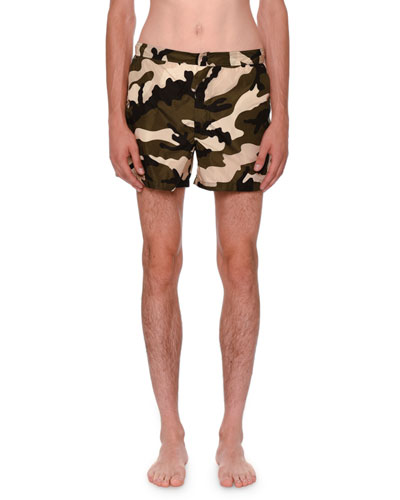 Camouflage Short Swim Trunks, Green/Black/White