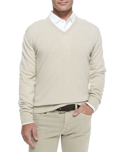 Baby Cashmere V-Neck Sweater, Natural