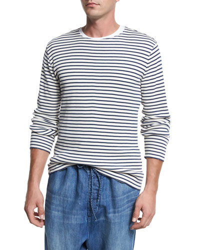 Raw-Edge Striped Knit Cotton Crewneck Sweater, Off White/Navy