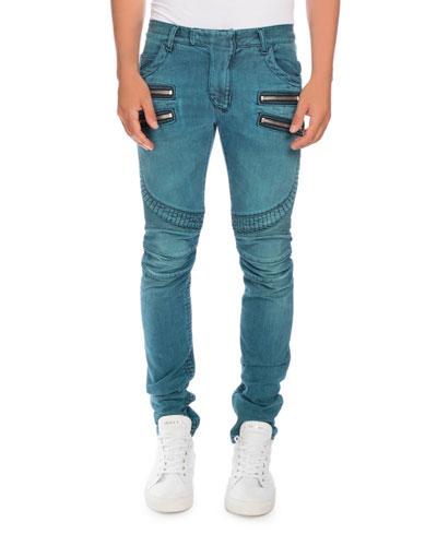 Skinny Denim Biker Jeans, Turquoise