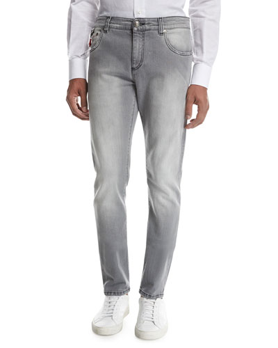 Washed Denim Slim-Straight Jeans, Light Gray