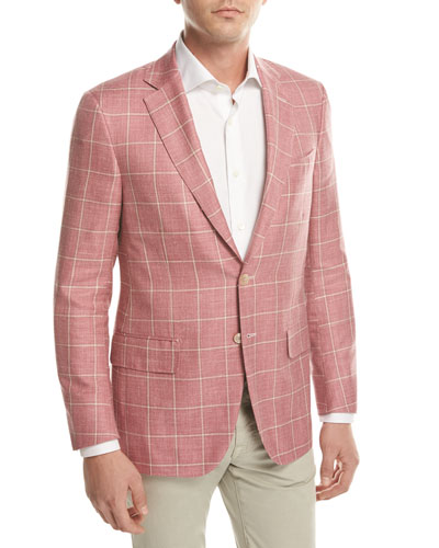 Windowpane Check Two-Button Sport Coat, Pink/Beige