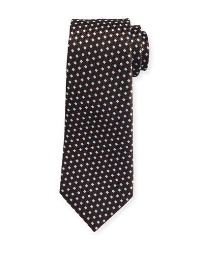 Textured Rib-Ground Silk Tie, Brown