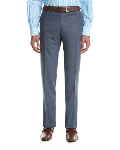 Tropical Wool-Cashmere Flat-Front Trousers, Gray