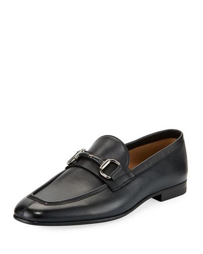 Leather Horsebit Loafer, Navy