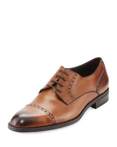 Leather Cap-Toe Derby Shoe, Brown