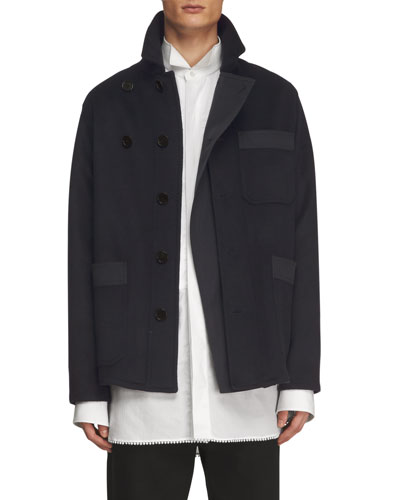 Double-Face Cashmere Workwear Jacket, Navy