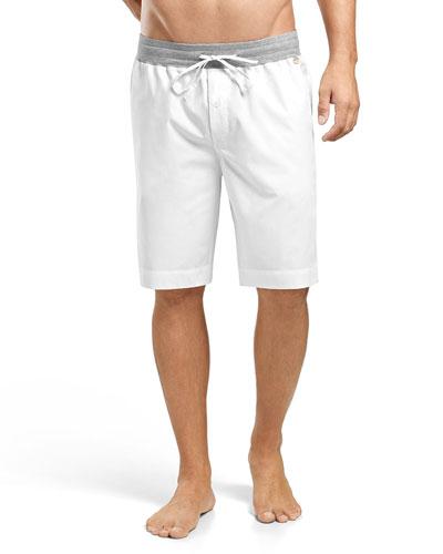 Harvey Woven Shorts, White/Gray