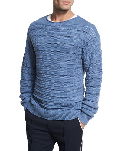 Horizontal Textured Crewneck Sweater, Dutch Blue