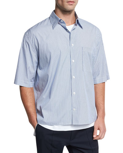 Boxy-Fit Pleated Short-Sleeve Shirt, Navy