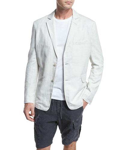 Relaxed Linen-Blend Blazer, Whisper White
