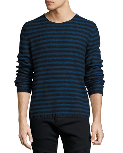 Reverse-Stripe Crewneck Sweater, Navy
