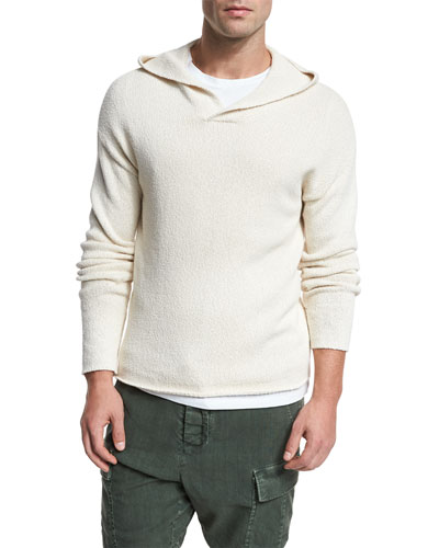 Textured Cotton Pullover Hoodie