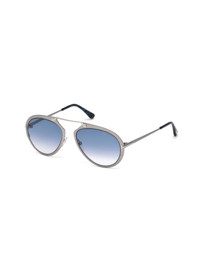 Dashel Aviator Sunglasses, Silver/Blue