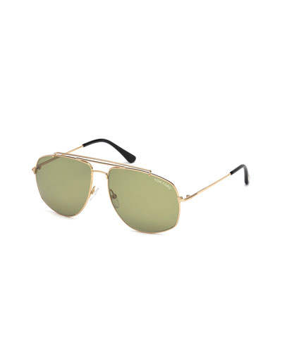 Georges Angular Aviator Sunglasses, Rose Gold/Green