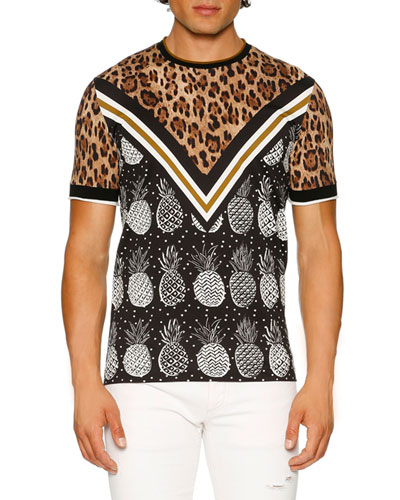 Leopard & Pineapple T-Shirt, Brown/Black/White