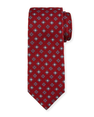 Neat Repeating Floral Silk Tie