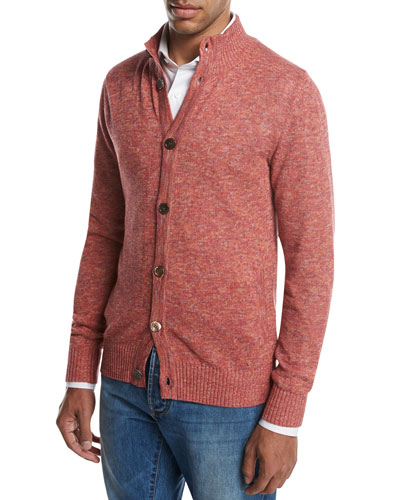 Stand-Collar Mélange Cardigan, Lava Red