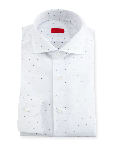 Dobby-Dot Dress Shirt, White/Navy