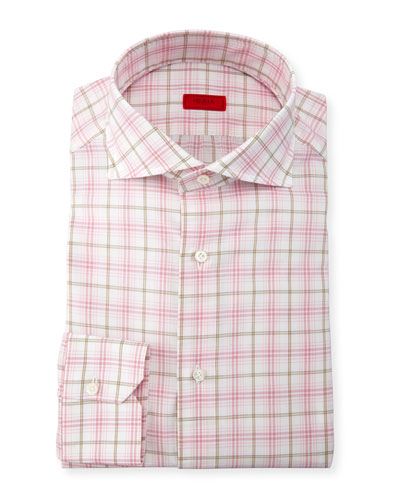 Check Dress Shirt, Pink/Tan/White
