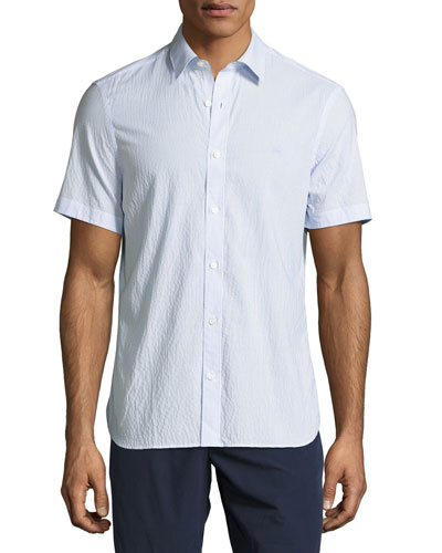 Striped Seersucker Short-Sleeve Shirt, Light Blue