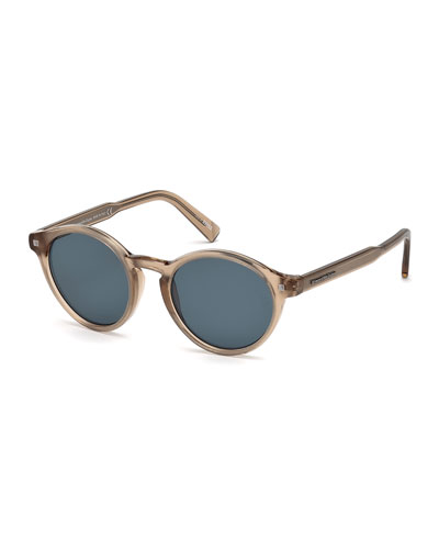 Round Acetate Sunglasses with Chevron Core, Champagne