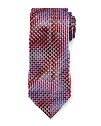 3D Diamond Neat Silk Tie, Red