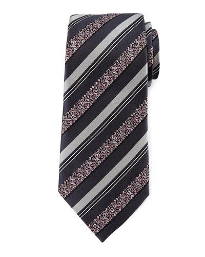 Satin Floral Striped Tie, Gray