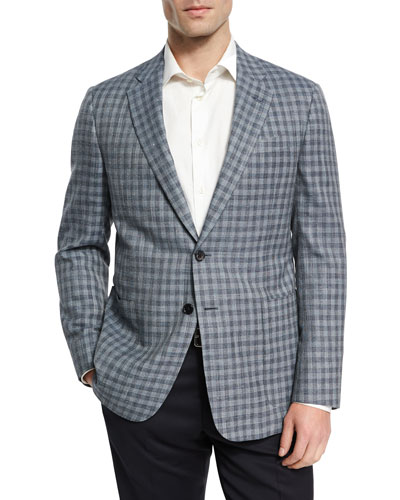 Check Wool-Silk-Linen Two-Button Sport Coat, Light Blue