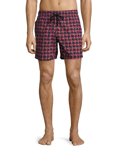 Moorea Fish Foot Swim Trunks, Navy/Red
