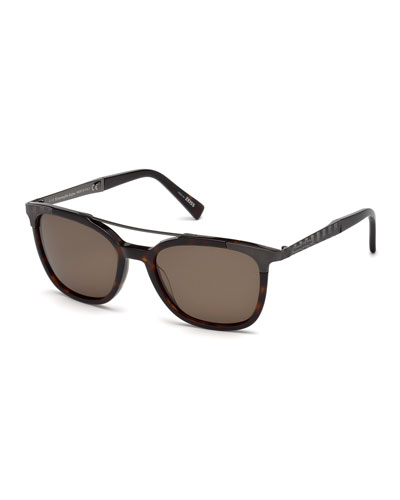 Acetate & Chevron Metal Rectangular Polarized  Sunglasses, Dark Havana/Gunmetal