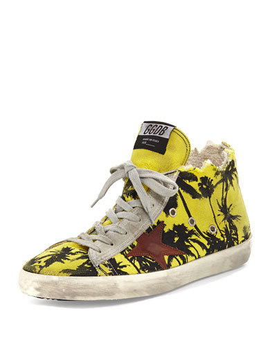 Francy Men's Palm-Print High-Top Sneaker