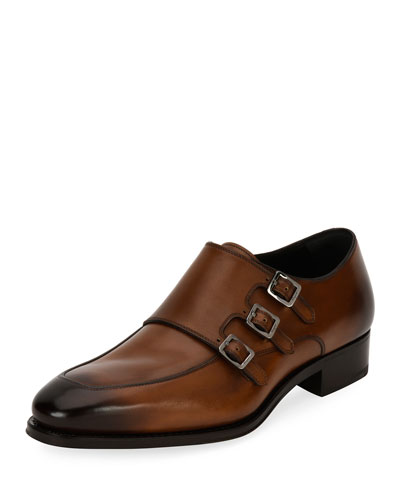Triple-Monk Leather Shoe, Brown