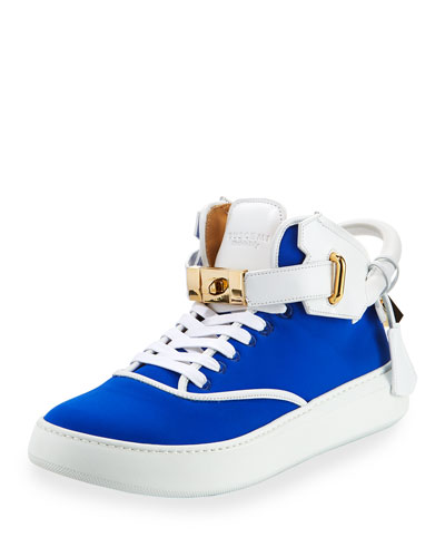 Men's 100mm Mid-Top Sneaker, Neon Blue/White