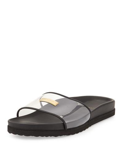Men's Crystal Pool Slide Sandal, Black