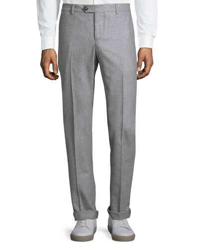 Basic Straight-Leg Trousers, Light Grey