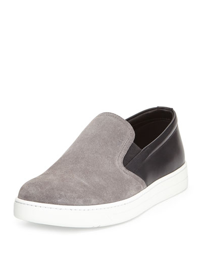 Leather-Suede Slip-On Sneaker