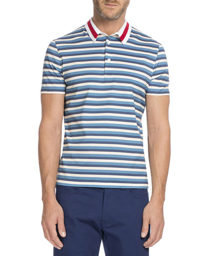Striped Polo with Contrast Collar, Ecru/Light Blue/Navy