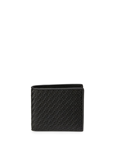 Pelle Tessuta Woven Leather Bi-Fold Wallet, Black