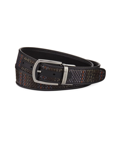 Reversible Pelle Tessuta Leather Belt